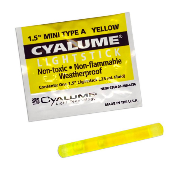 1.5 Inch Yellow Mini Glow Stick