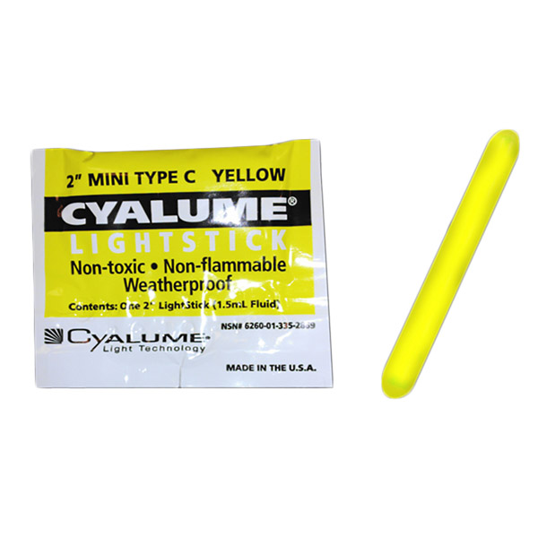 2 Inch Yellow Mini Glow Sticks