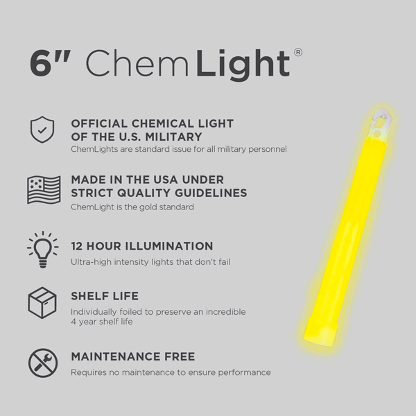 6 Inch Yellow ChemLight - Specs