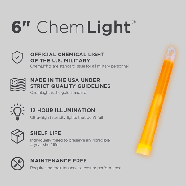 6 Inch Orange ChemLight - Specs
