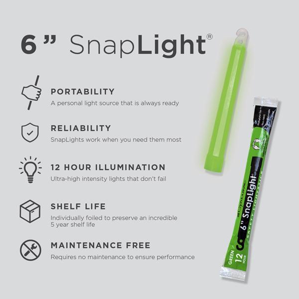 6 Inch Green SnapLight - Cyalume Glow Stick Specs