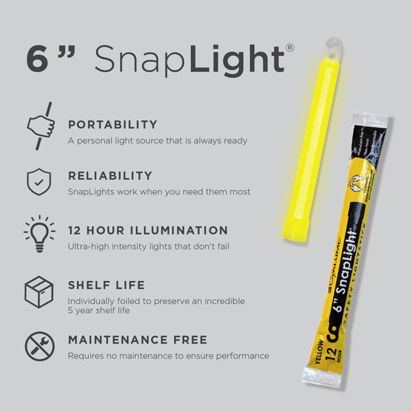6 Inch Yellow SnapLight - Cyalume Glow Stick Specs