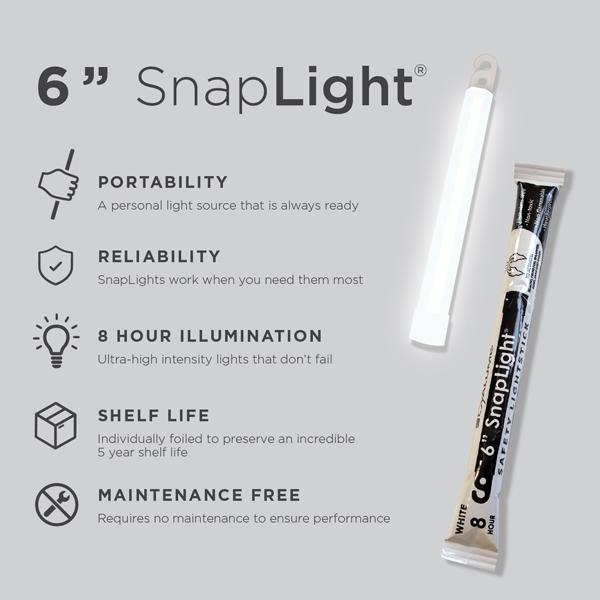 6 Inch White SnapLight - Cyalume Glow Stick Specs