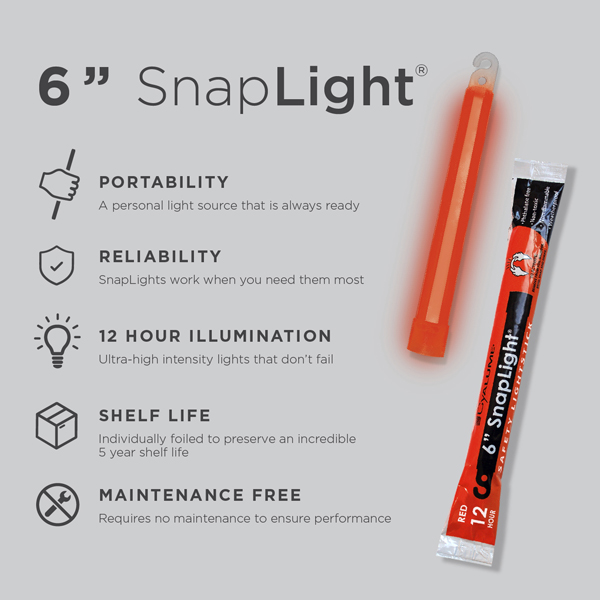 6 Inch Red SnapLight - Specs