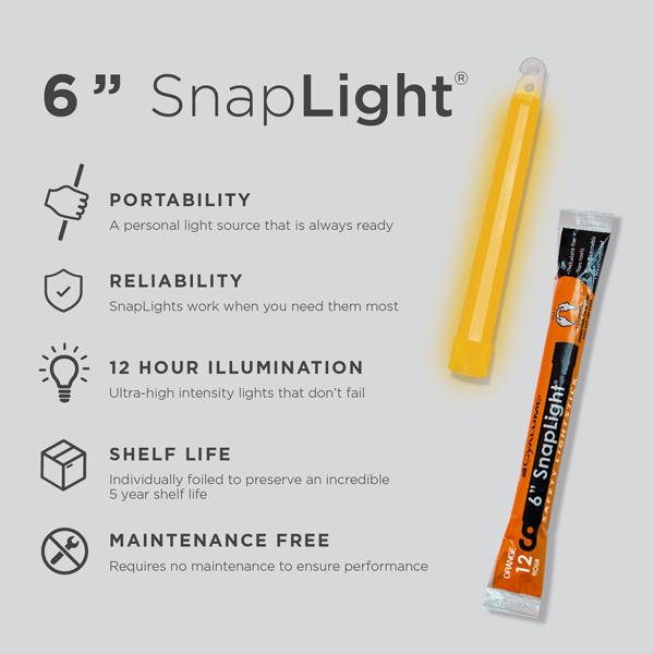 6 Inch Orange SnapLight - Specs
