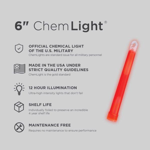 6 Inch Red ChemLight - Specs
